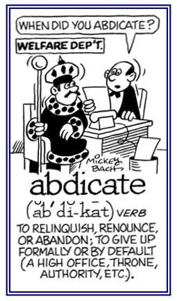 how to use abdicate in a sentence